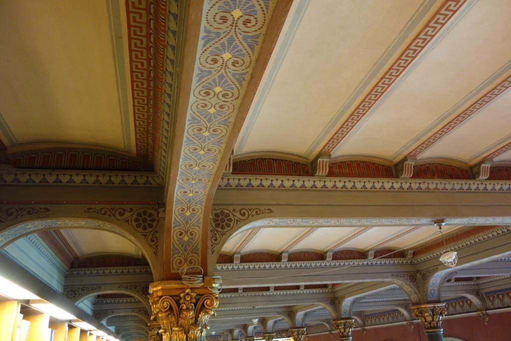 Kirjaston katon yksityiskohtia