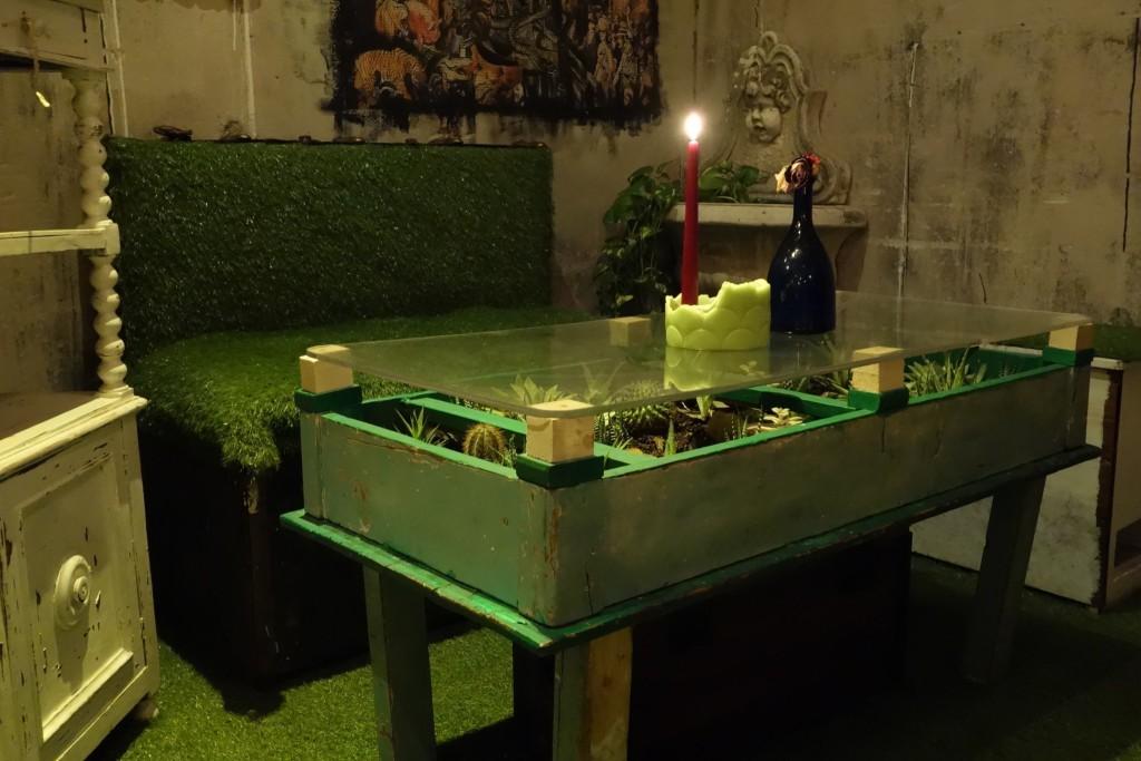 Ruohopenkki ja kaktuspöytä